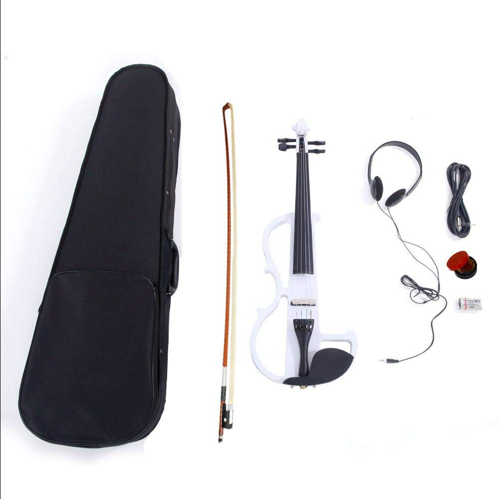Ktaxon White 8 Pattern Electroacoustic Violin - Full Size +Case + Bow + Rosin