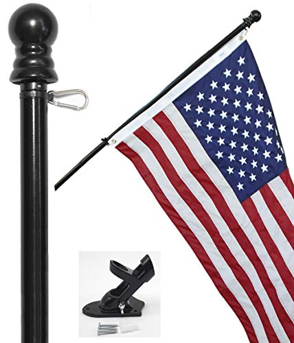 Flag Pole Kit - Includes 3x5 ft American Flag Made in USA, 6 Foot Tangle Free Flag Pole, and Flagpole Bracket (Black) ()