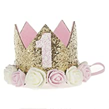 Baby Girls Glitter Crown Birthday Headbands with Artificial Rose Flower (1 Year Old(Pink and Cream White Flower))