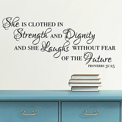 Proverbs 31:25 Vinyl Wall Decal, Scripture Quote Wall Decor, Religious Gifts for Women, 24