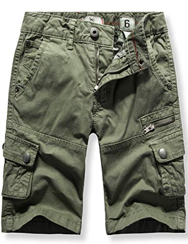 WIYOSHY Boys' Cargo Shorts Adjustable Waist Multi Pocket Outdoor Denim Shorts (Army Green-2, 140 (Size 10))
