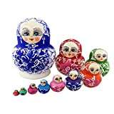 Colorful Big Belly Blue White Cherry Blossom Handmade Wooden Russian Nesting Dolls Matryoshka Dolls Set 10 Pieces for Kids Toy Birthday Home Decoration