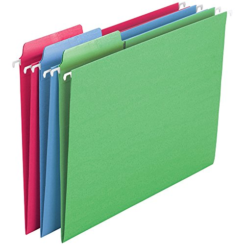 (Smead Erasable FasTab Hanging File Folder, 1/3-Cut Built-in Tab, Letter Size, Assorted Colors, 18 per Box)
