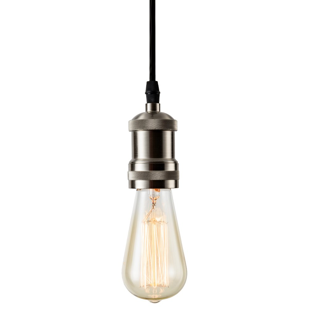 Csinos Vintage 1-Light Socket Mini Pendant Light Fixture E26 Base with Adjustable Black Rope Cord for Home Office Restaurant by Csinos