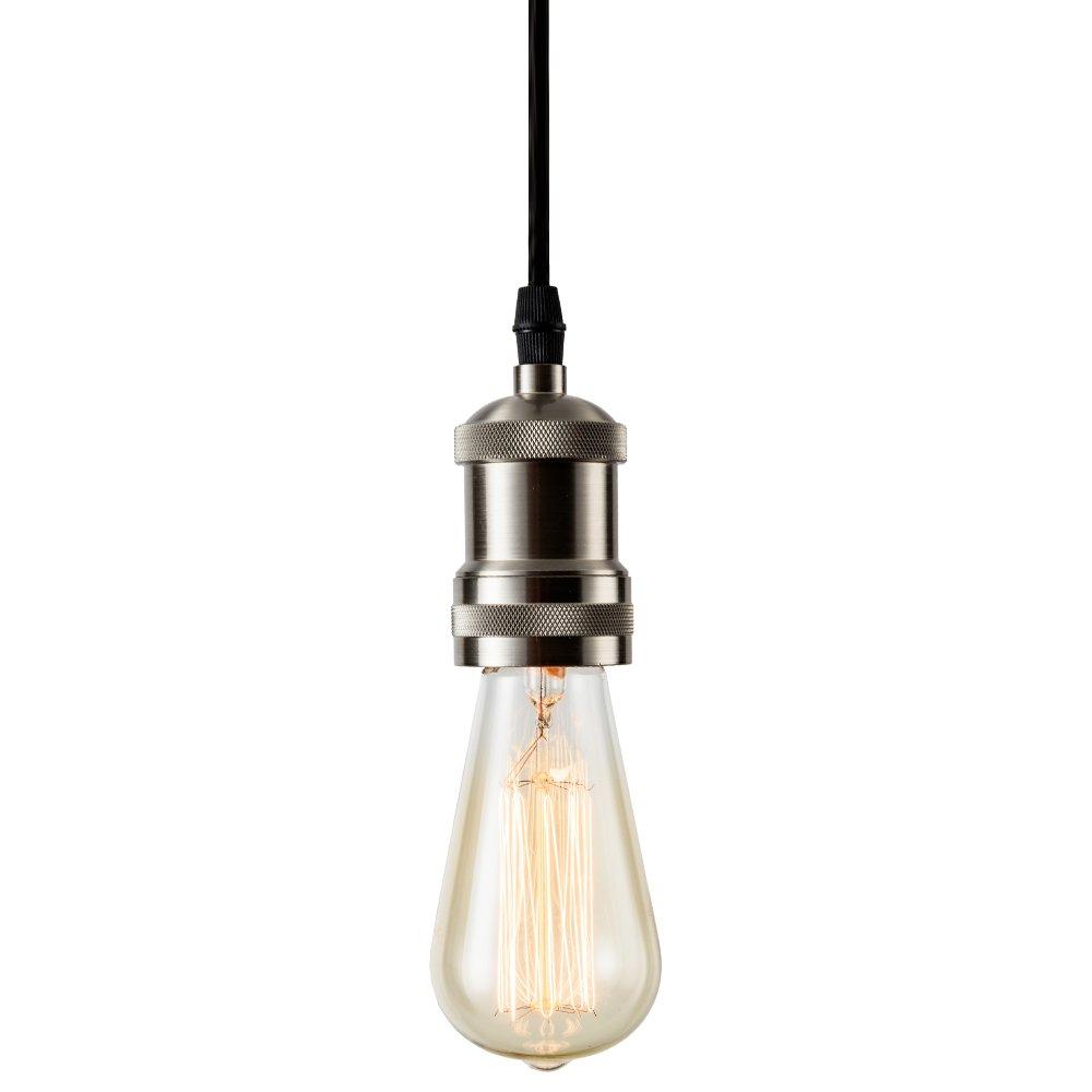 Csinos Vintage 1-Light Socket Mini Pendant Light Fixture E26 Base with Adjustable Black Rope Cord for Home Office Restaurant