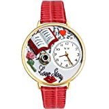 Love Story Red Leather And Goldtone Watch #WG-G0460003