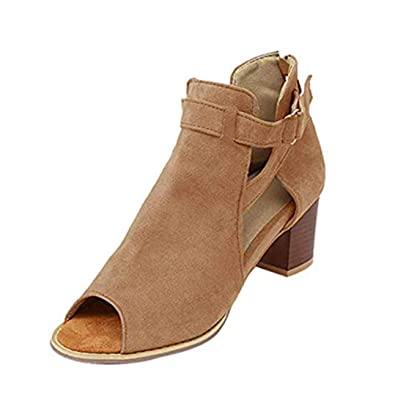e6756255c5 Sandalen Damen Sommer Mit Absatz Sandaletten Frauen Blockabsatz Wildleder  Leder Peeptoe Schnalle Sommerschuhe Bequeme Elegante Schuhe