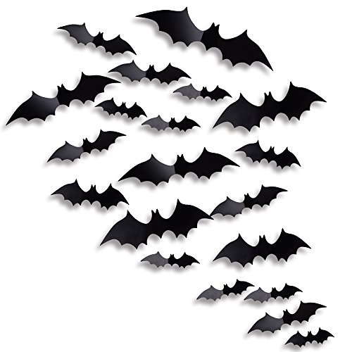 Antner Halloween Party Supplies PVC 3D Bats Removable Decals Stickers Window Decors, 36 Pieces, ()