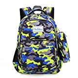 Ladyzone Camo School Backpack Lightweight Schoolbag Travel Camp Outdoor Daypack Bookbag for Your Children (Camouflage Green with Case)