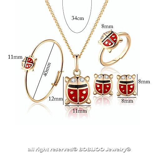 BOBIJOO Jewelry - Parure de Bijoux Enfant Fille Coccinelle Strass Doré à l'Or Fin Bracelet Collier