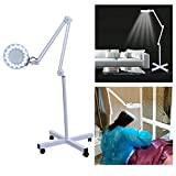 Facial Magnifying Lamp 5X LED Magnifier Lamp Adjustable Rolling Floor Stand Magnifying Light Diopter for Salon Beauty Equipment US Plug (White)