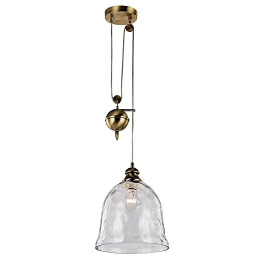 Antique brass rise and fall pendant light with large glass bell antique brass rise and fall pendant light with large glass bell shade by haysoms mozeypictures Images