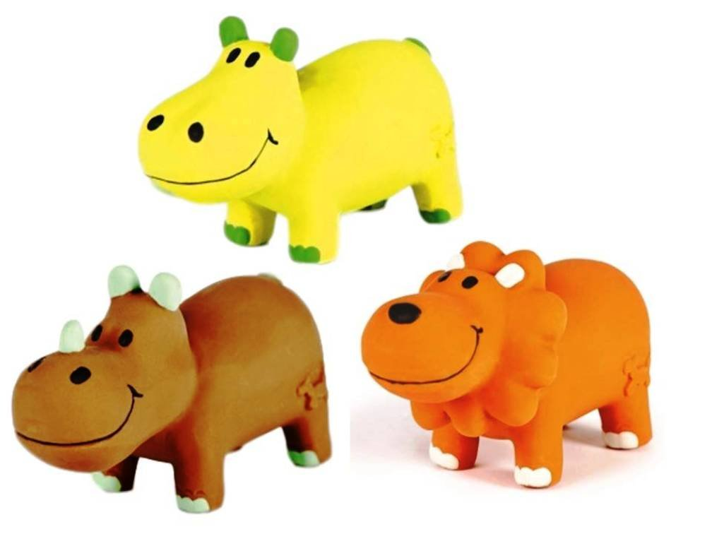 Charming Pet All Natural Soft Latex Lil' Roamers Small Squeaker Chew Toy 3 Shape Variety Bundle  (1) Charming Hippo, (1) Charming Lion, and (1) Charming Rhino