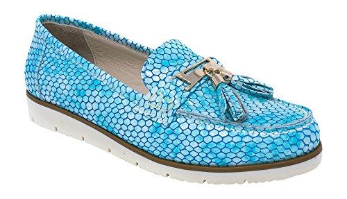 Bajo de 7 Mujer Zapato de Cuero Nautico Turquesa Thea US Estilo para Coleccion BOBERCK Piso fXwaxtq