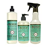 Mrs. Meyer's Clean Day Kitchen Basics Set, Basil, 3 ct: Dish Soap (16 fl oz), Hand Soap (12.5 fl oz), Multi-Surface Everyday Cleaner (16 fl oz)
