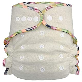 Fitted Cloth Diaper: Overnight Diaper with 2 Cotton Hemp Inserts, One Size with Snap Buttons
