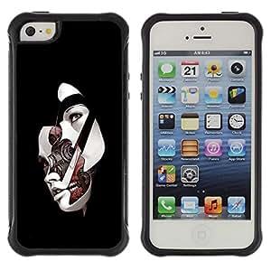 "Pulsar iFace Series Tpu silicona Carcasa Funda Case para Apple iPhone SE / iPhone 5 / iPhone 5S , Máscara facial Mujer Ai Tecnología Arte Futuro"""