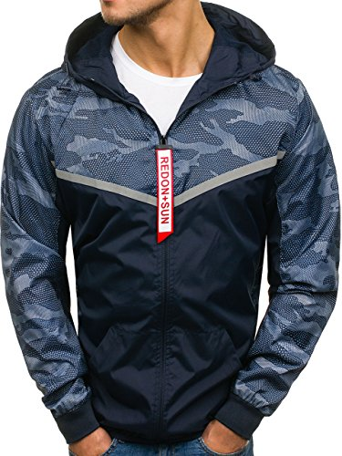 4D4 Military Outdoor Blue Navy Hood Ribbed Men's Jacket BOLF Plain Casual Zip hy199 Sport Transitional Mix x0w84g7