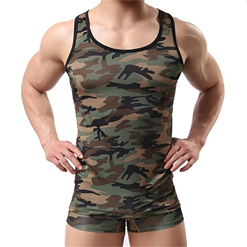 Men's Camouflage Undershirt Vest Tank Top Gym Sleeveless Shirts Jersey (XL)
