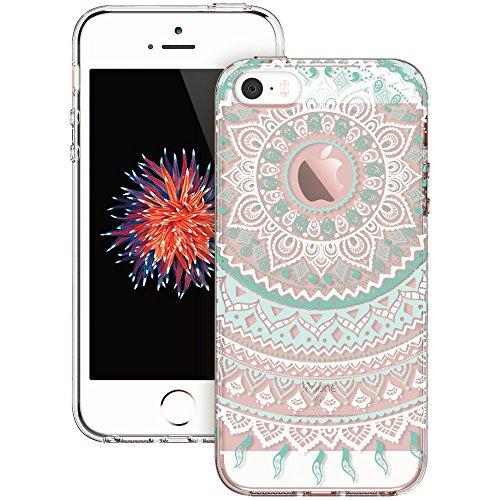 iPhone 5s Case, iPhone se Case, ESR Totem Henna Mandala Floral Pattern Design with Soft TPU Bumper+Hard PC Back Cover for iPhone 5S/SE/5 (Mint Mandala) - Henna Phone Cases Iphone 5s