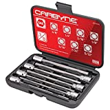 "CARBYNE 7 Piece Extra Long Hex Bit Socket Set - SAE, S2 Steel Bits | 3/8"" Drive, 1/8 inch to 3/8 inch"