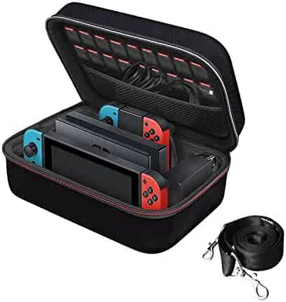 Nintendo Switch Game Traveler Deluxe and Storage Case,iVoler Portable Nintendo Switch Carrying-All Protective Hard Messenger Bag Soft Lining Pouch 18 Games For Switch Console &Accessories, Black