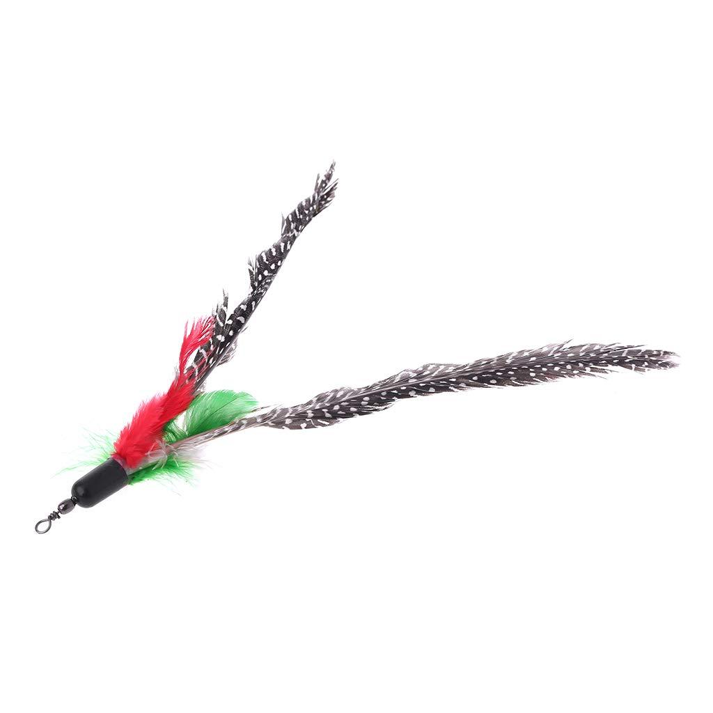 WE-WHLL 5PCS Handmade Natural Feather Cat Toy Da Bird Refills Interactive Teaser Sticks