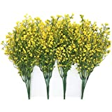 CATTREE Artificial Shrubs Bushes, Plastic Fake Plants Wedding Indoor Outdoor Home Garden Verandah Kitchen Office Table Centerpieces Arrangements Christmas Decoration Yellow 4 pcs