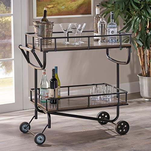 Christopher Knight Home Alice Industrial Grey Faux Wood Bar Cart with Black Finish Iron Frame