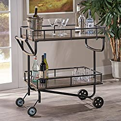 Alice Industrial Grey Finish Faux Wood Bar Cart with Black Finish Iron Frame