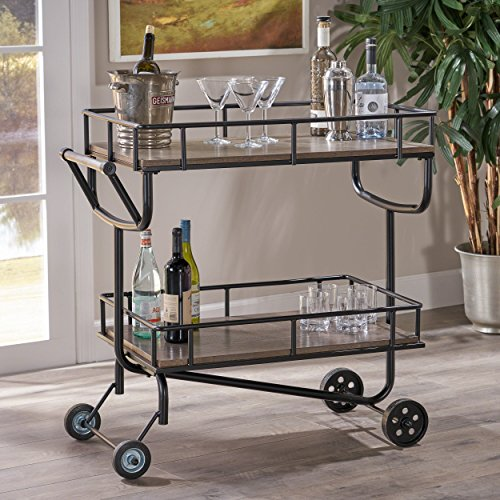 Christopher Knight Home 304135 Alice Industrial Grey Faux Wood Bar Cart with Black Finish Iron Frame