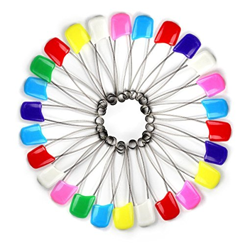 Coolrunner Assorted Color Plastic Head Baby Safety Pins Safety Locking Baby Cloth Diaper Nappy Pins (100pcs)