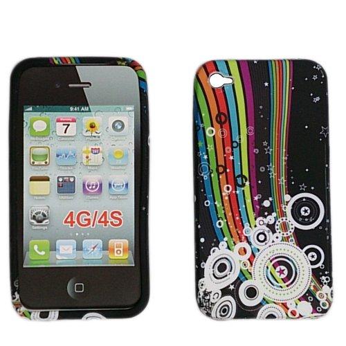 handy-point Regenbogen Gummihülle Silikonhülle Gummi Silikon Schale Schutzschale Schutzhülle Handyschale Handyhülle Hülle für Apple iPhone 4, 4S, 4G, Schwarz