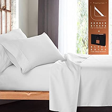 Premium California King Size Sheets Set   White Hotel Luxury 4 Piece Bed Set ,