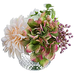 "6.5"" Hydrangea, Dahlia & Ranunculus Silk Flower Arrangement -Mauve/White (Pack of 4) 102"