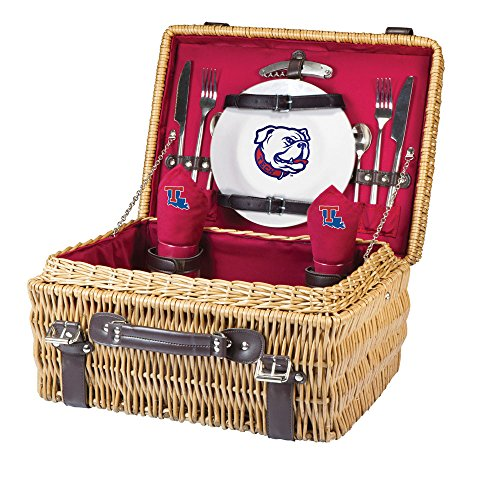 NCAA Louisiana Tech Bulldogs Champion Picnic Basket with Deluxe Service for Two, Red