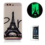 For Huawei P10 Case, Funyye New Night Luminous Phone Case Unique Lovely Pattern Soft Silicone Gel TPU Rubber Cover for Huawei P10-Eiffel Tower