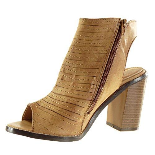 Angkorly - Scarpe da Moda sandali Stivaletti - Scarponcini Peep-Toe aperto low boots donna multi-briglia finitura cuciture impunture zip Tacco a blocco tacco alto 9.5 CM - Cammello