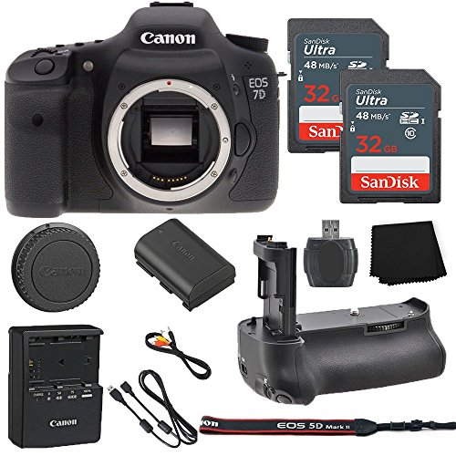 - Canon EOS 7D 18MP Digital SLR Camera Body Only + 2 32GB Sandisk Ultra SD Cards + Battery Grip + Memory Card Reader + Cleaning Cloth - International Model