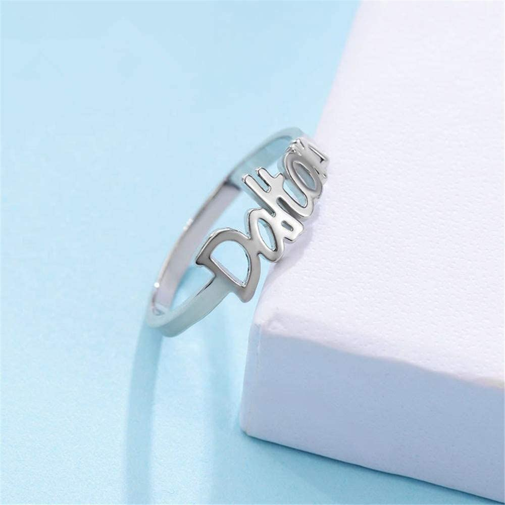 Elefezar Personalized 925 Sterling Silver Nameplate Ring Love Gold Plated Custom with Any Name
