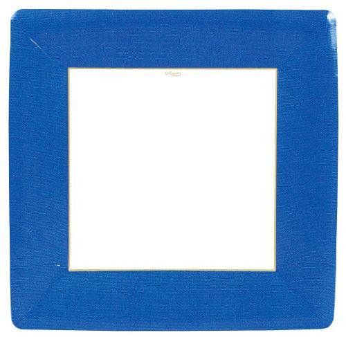 Entertaining with Caspari Grosgrain Paper Dinner Plates, Marine Blue, Pack of 8 - Marine Blue Dinner