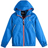 Wantdo Boy's Packable Spring Jacket Hooded Running Windbreaker Acid Blue 10/12