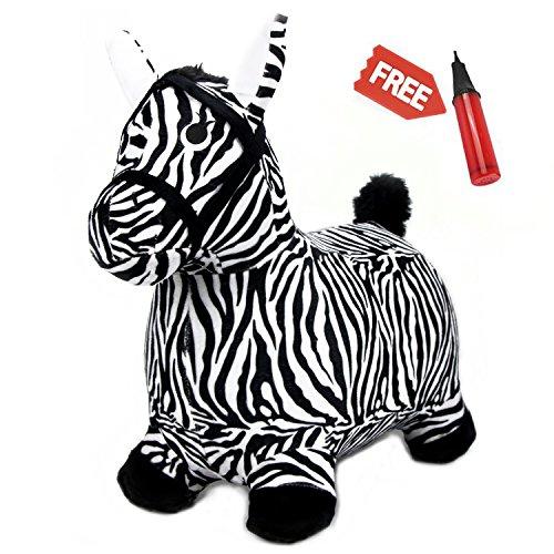 iPlay, iLearn Zebra Bouncy Animal, Hopping Horse, Inflatable Hopper, Indoor Outdoors kindergarten Ride On Toy, Birthday Activities Gift For 2, 3, 4, 5 Year Olds Preschool Kids Toddlers Boys Girls -