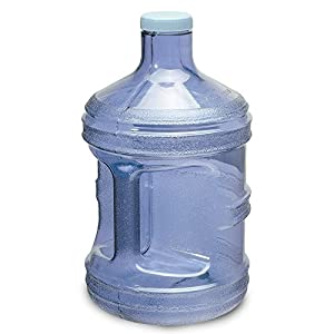 For Your Water BPA Free Reusable Plastic Drinking Water Big Mouth Bottle Container with Holder, Dark Blue, 1 gal