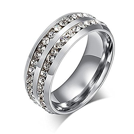 LEEYA NL10 Mens Womens 8MM Titanium Stainless Steel High Polished 18K Gold Plated Channel Set Cubic Zirconia CZ Promise Engagement Band Unisex Gold Wedding Ring Comfort Fit, Size 6-13 (11, Silver) ()