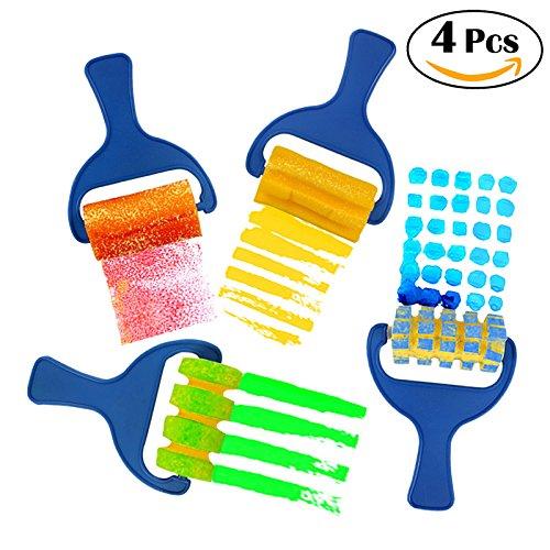 Imei Painting Foam Brush Roller Sponge for Kid Mini Paint Brushes DIY Art Craft Painting Tool Set(4 Packs)