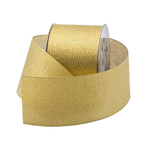 (Metallic (Glitz) Gold Fabric Ribbon 2.5
