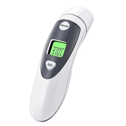lismile frente y Oído infrarrojo Termómetro, termómetro digital para bebé de niños y adultos,