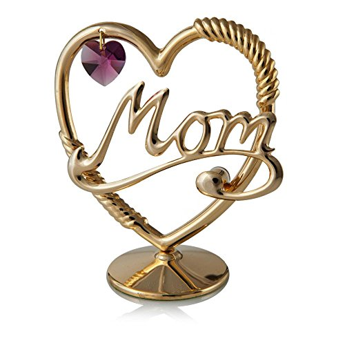 24K Gold Plated Crystal Studded Mom In A Heart Ornament with a
