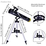 GeerTop Telescope 76mm Aperture Focal Length 700mm EQ Astronomy Portable Reflector Camera Friendly for Kids and Beginners